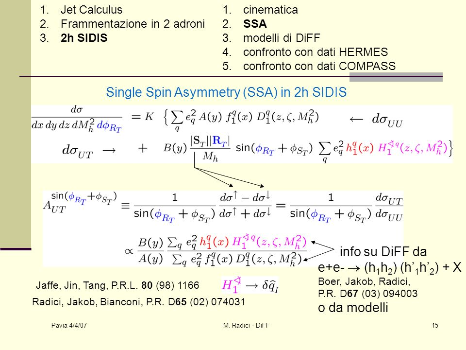 Pavia 4/4/07 M.Radici - DiFF16 1. Jet Calculus 2.