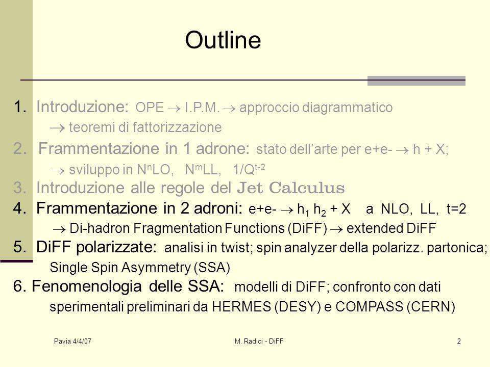 Pavia 4/4/07 M. Radici - DiFF2 Outline 1. Introduzione: OPE I.P.M.