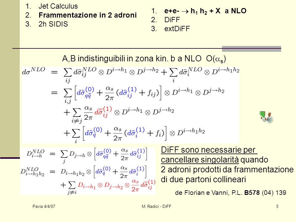 Pavia 4/4/07 M.Radici - DiFF6 1. Jet Calculus 2. Frammentazione in 2 adroni 3.