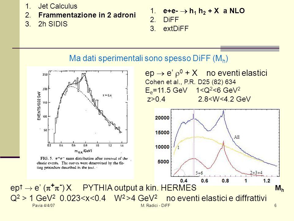 Pavia 4/4/07 M.Radici - DiFF7 correlatore quark-quark non locale hermitianità + inv.