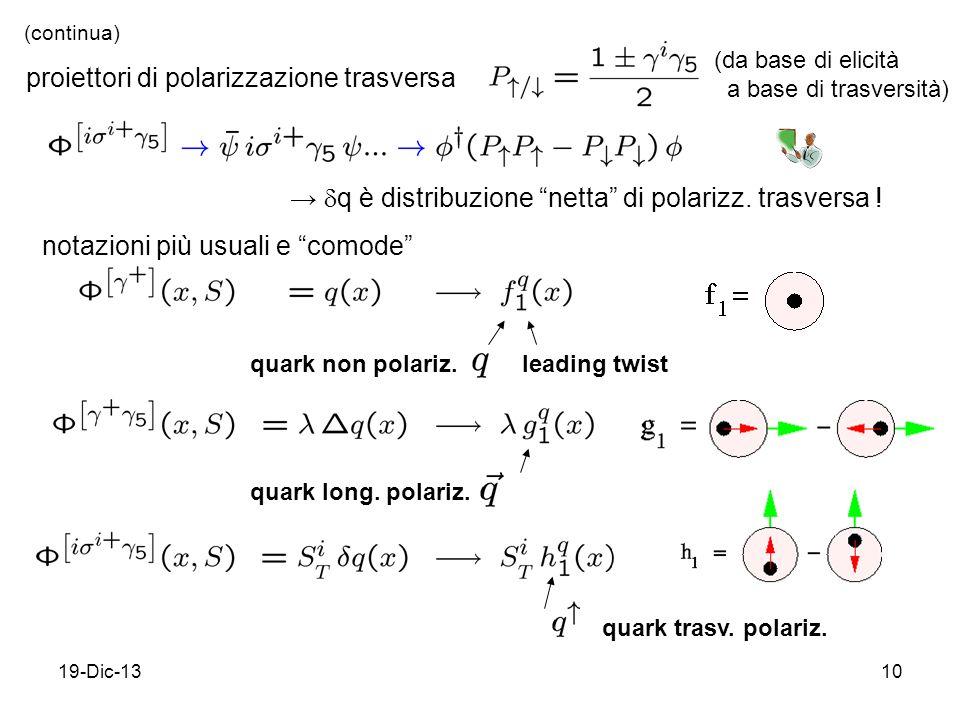 19-Dic-1310 proiettori di polarizzazione trasversa q è distribuzione netta di polarizz.