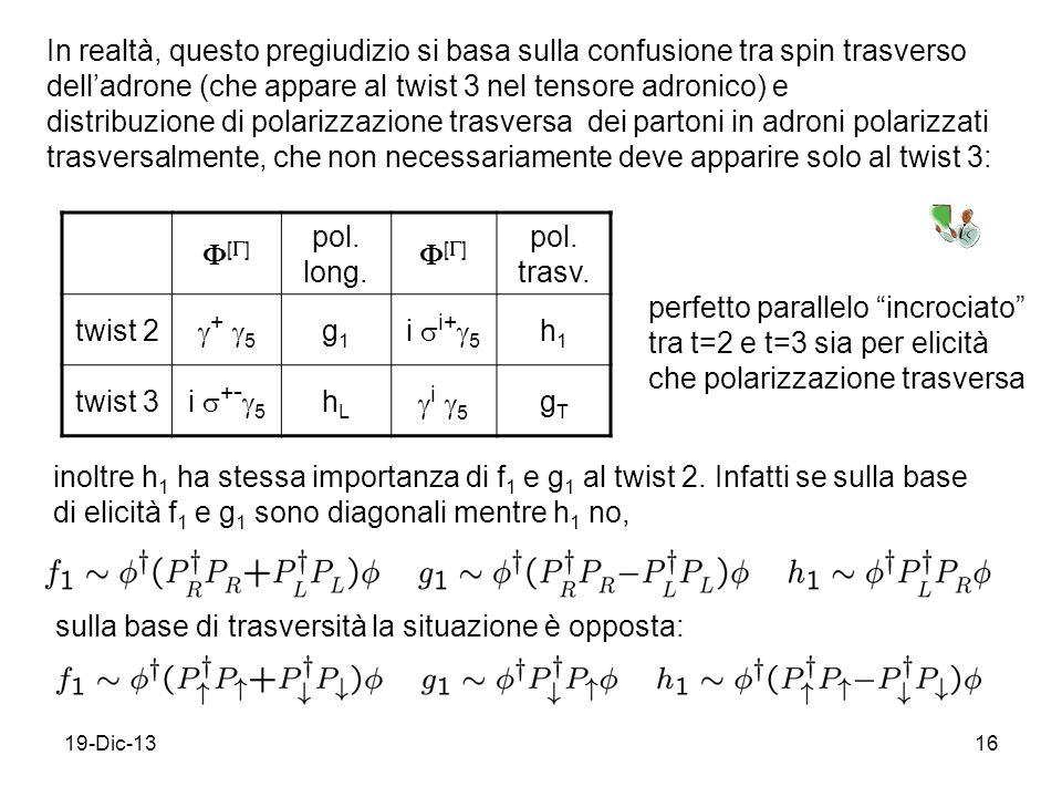 19-Dic-1316 In realtà, questo pregiudizio si basa sulla confusione tra spin trasverso delladrone (che appare al twist 3 nel tensore adronico) e distribuzione di polarizzazione trasversa dei partoni in adroni polarizzati trasversalmente, che non necessariamente deve apparire solo al twist 3: [ ] pol.
