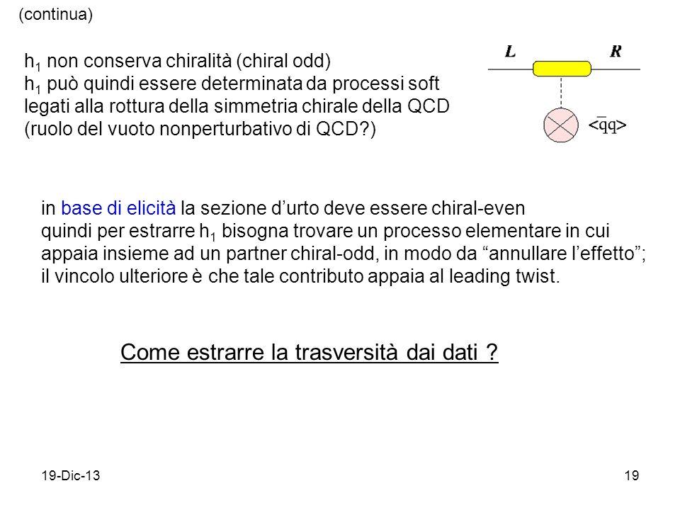 19-Dic-1319 h 1 non conserva chiralità (chiral odd) h 1 può quindi essere determinata da processi soft legati alla rottura della simmetria chirale della QCD (ruolo del vuoto nonperturbativo di QCD ) in base di elicità la sezione durto deve essere chiral-even quindi per estrarre h 1 bisogna trovare un processo elementare in cui appaia insieme ad un partner chiral-odd, in modo da annullare leffetto; il vincolo ulteriore è che tale contributo appaia al leading twist.