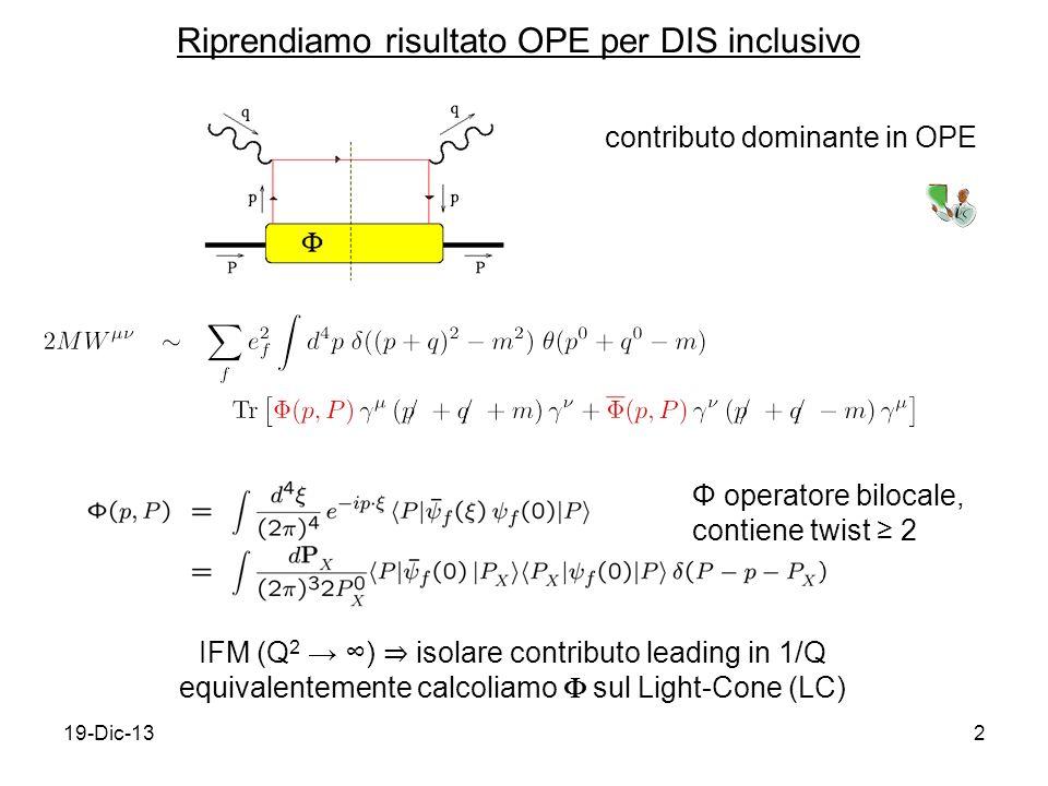 19-Dic-132 Riprendiamo risultato OPE per DIS inclusivo contributo dominante in OPE IFM (Q 2 ) isolare contributo leading in 1/Q equivalentemente calcoliamo sul Light-Cone (LC) Φ operatore bilocale, contiene twist 2