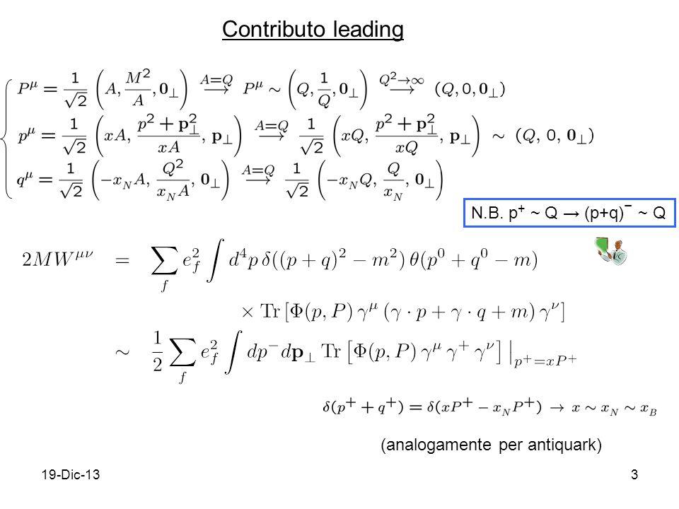 19-Dic-133 (analogamente per antiquark) Contributo leading N.B. p + ~ Q (p+q) ~ Q
