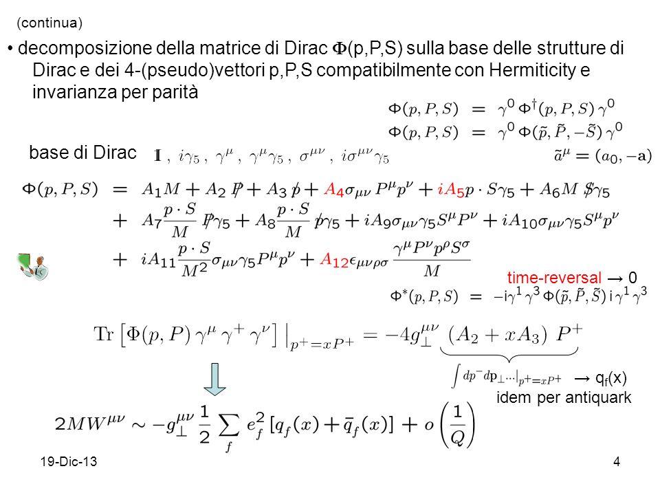 19-Dic-134 (continua) decomposizione della matrice di Dirac (p,P,S) sulla base delle strutture di Dirac e dei 4-(pseudo)vettori p,P,S compatibilmente con Hermiticity e invarianza per parità base di Dirac time-reversal 0 q f (x) idem per antiquark