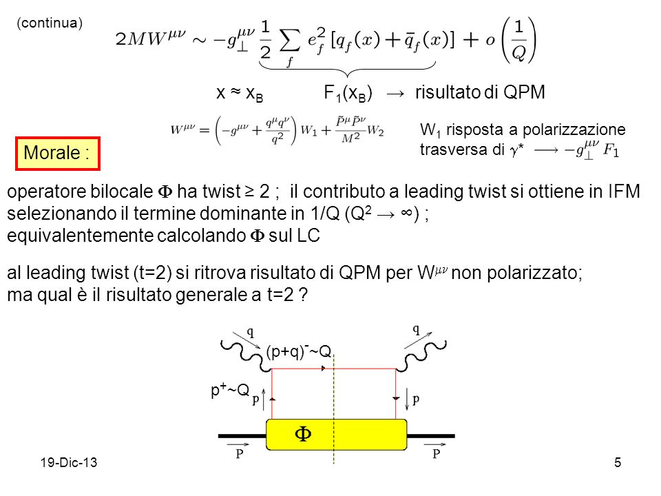 19-Dic-135 x x B F 1 (x B ) risultato di QPM (continua) Morale : operatore bilocale ha twist 2 ; il contributo a leading twist si ottiene in IFM selezionando il termine dominante in 1/Q (Q 2 ) ; equivalentemente calcolando sul LC al leading twist (t=2) si ritrova risultato di QPM per W non polarizzato; ma qual è il risultato generale a t=2 .