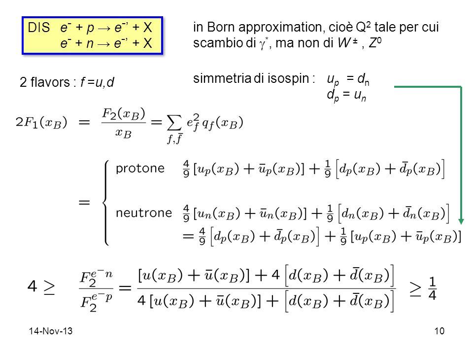 14-Nov-1310 DIS e - + p e - + X e - + n e - + X DIS e - + p e - + X e - + n e - + X in Born approximation, cioè Q 2 tale per cui scambio di *, ma non di W ±, Z 0 2 flavors : f =u,d simmetria di isospin : u p = d n d p = u n