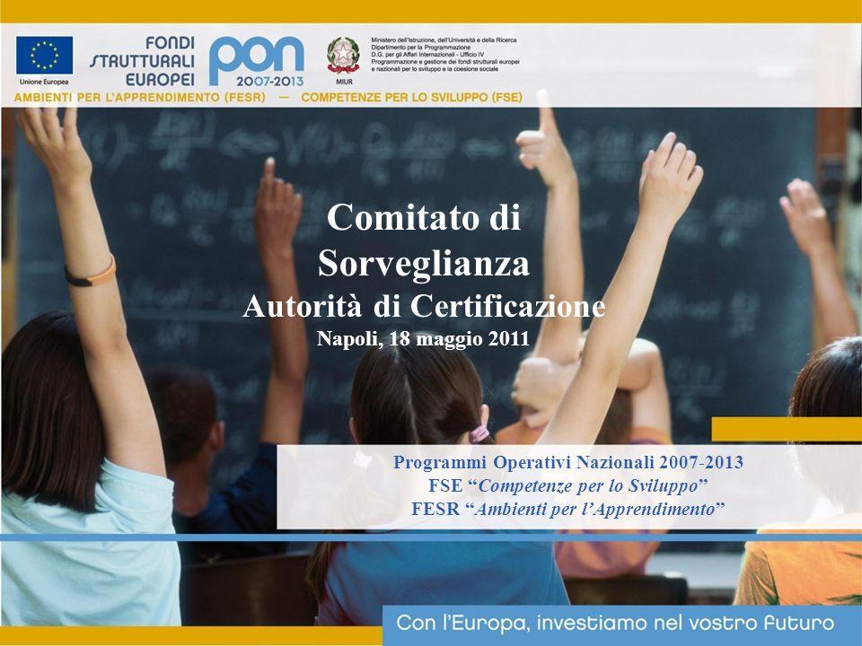 Programmi Operativi Nazionali 2007-2013 FSE Competenze per lo Sviluppo FESR Ambienti per lApprendimento Comitato di Sorveglianza Autorità di Certificazione Napoli, 18 maggio 2011