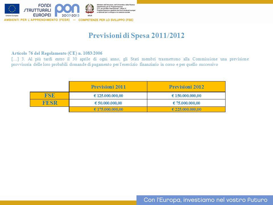 Previsioni di Spesa 2011/2012 Articolo 76 del Regolamento (CE) n. 1083/2006 […] 3. Al più tardi entro il 30 aprile di ogni anno, gli Stati membri tras
