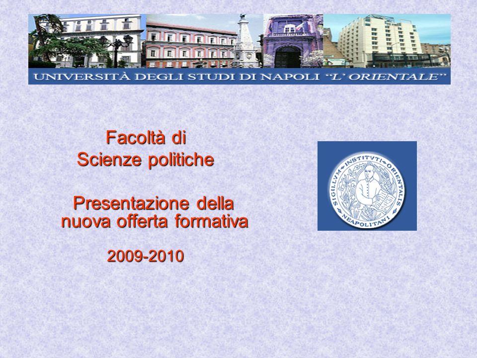 Facoltà di Scienze politiche Presentazione della nuova offerta formativa Presentazione della nuova offerta formativa2009-2010