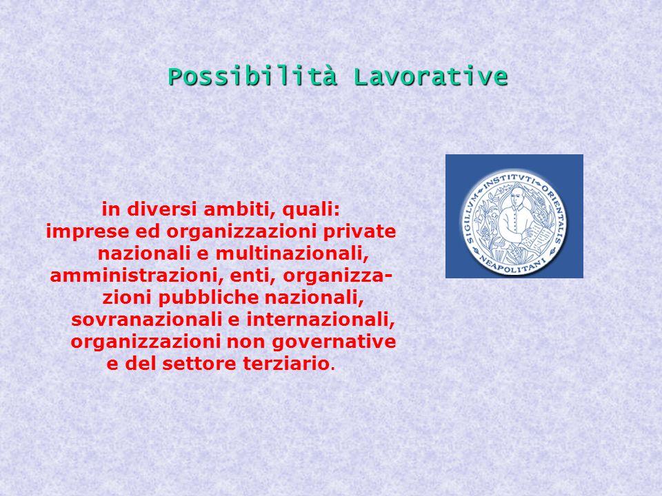 Possibilità Lavorative in diversi ambiti, quali: imprese ed organizzazioni private nazionali e multinazionali, amministrazioni, enti, organizza- zioni