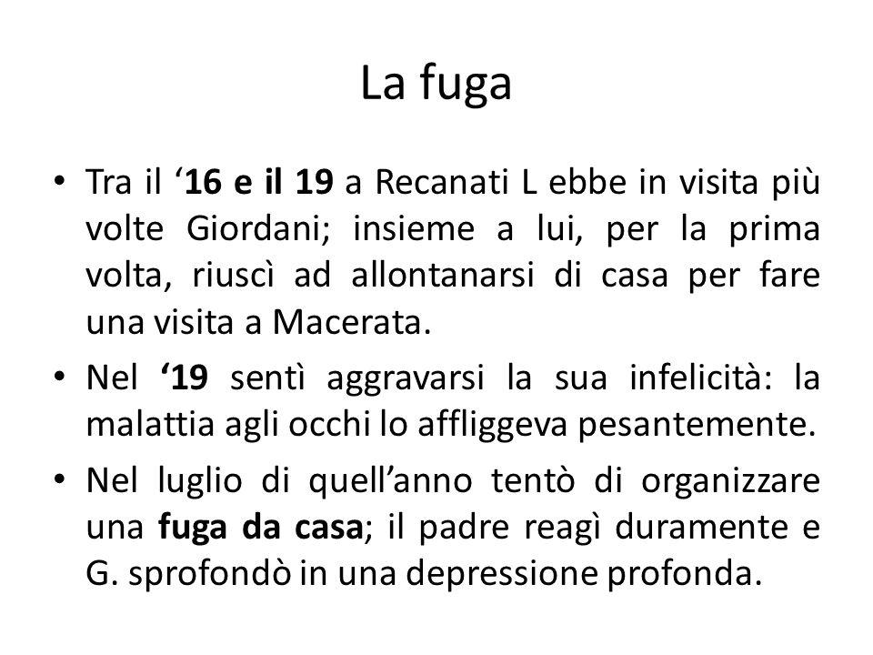 La fuga Tra il 16 e il 19 a Recanati L ebbe in visita più volte Giordani; insieme a lui, per la prima volta, riuscì ad allontanarsi di casa per fare u