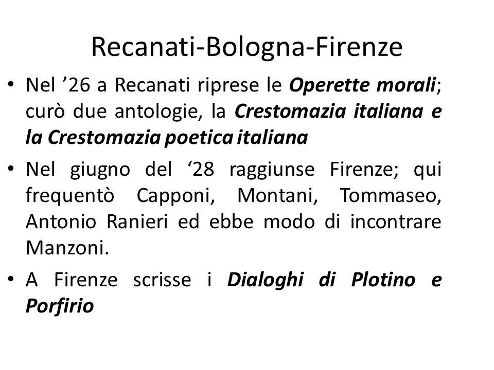 Recanati-Bologna-Firenze Nel 26 a Recanati riprese le Operette morali; curò due antologie, la Crestomazia italiana e la Crestomazia poetica italiana N