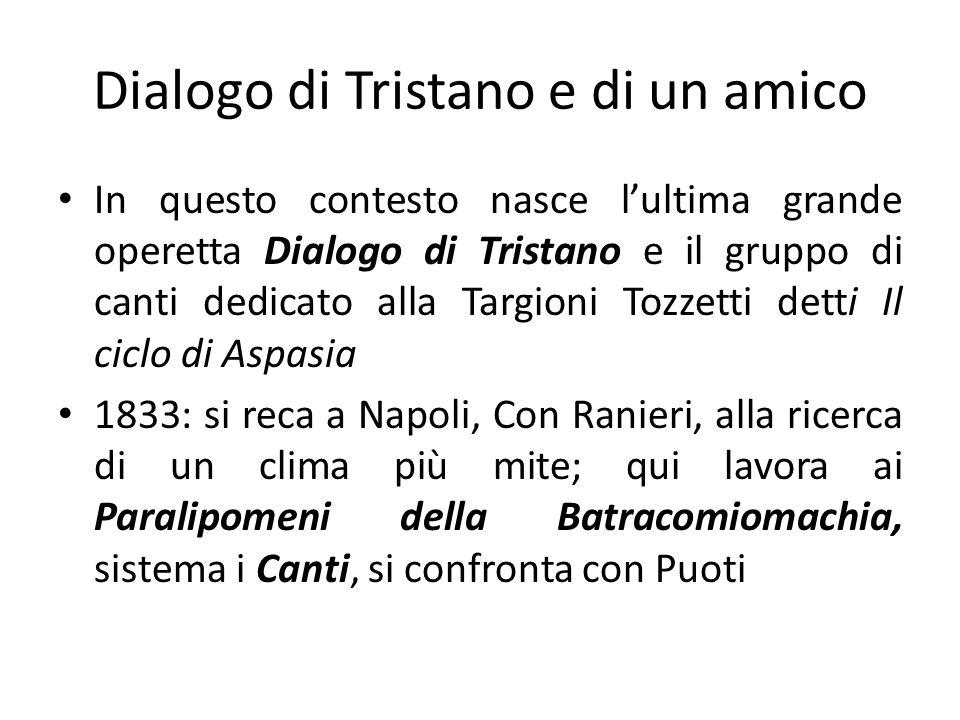 Dialogo di Tristano e di un amico In questo contesto nasce lultima grande operetta Dialogo di Tristano e il gruppo di canti dedicato alla Targioni Toz