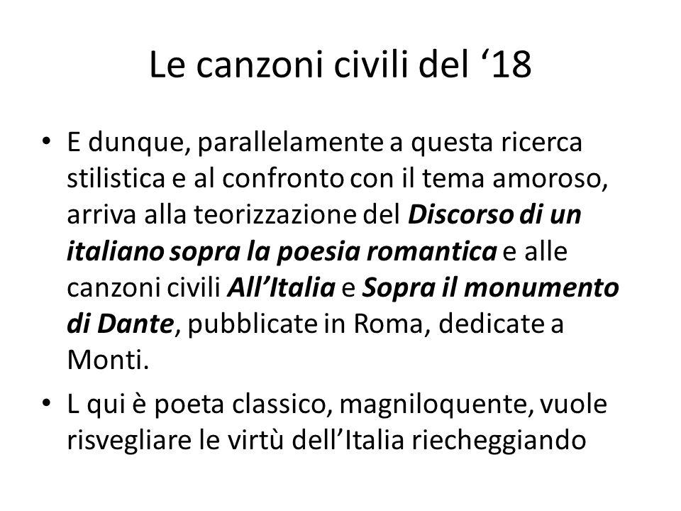 Le canzoni civili del 18 E dunque, parallelamente a questa ricerca stilistica e al confronto con il tema amoroso, arriva alla teorizzazione del Discor