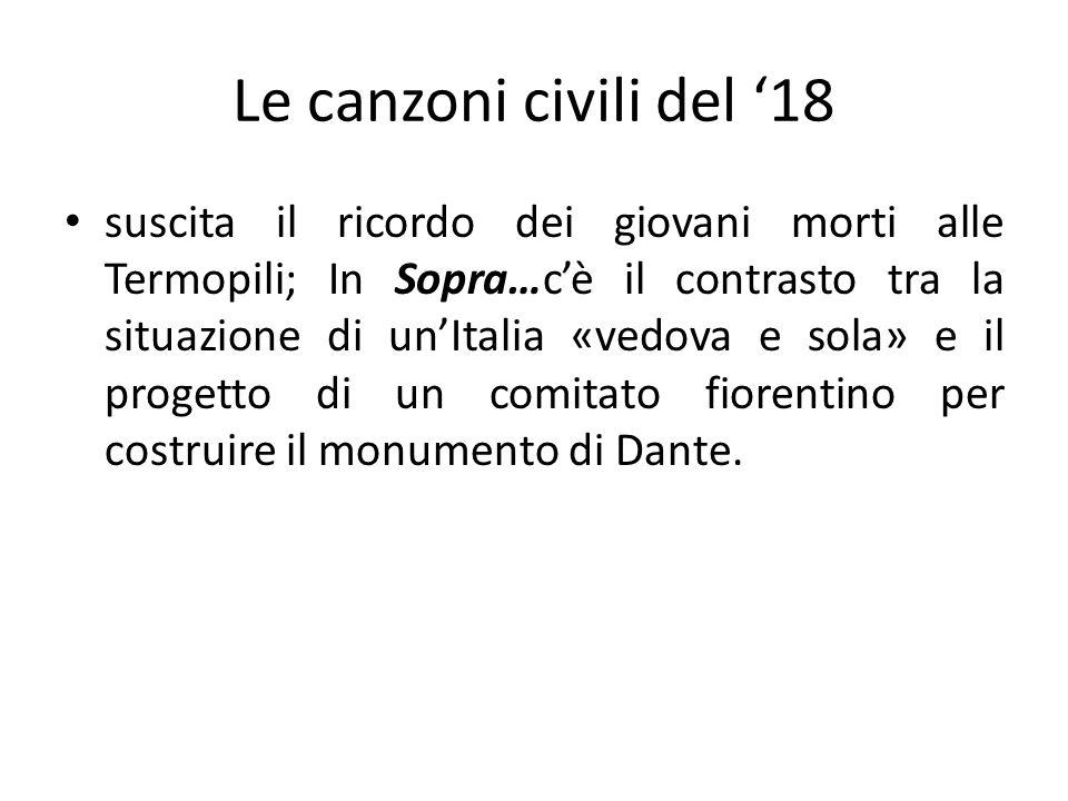 Le canzoni civili del 18 suscita il ricordo dei giovani morti alle Termopili; In Sopra…cè il contrasto tra la situazione di unItalia «vedova e sola» e