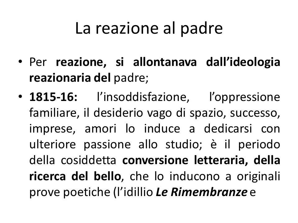 La reazione al padre Per reazione, si allontanava dallideologia reazionaria del padre; 1815-16: linsoddisfazione, loppressione familiare, il desiderio