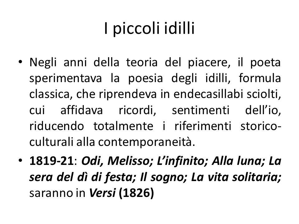 I piccoli idilli Negli anni della teoria del piacere, il poeta sperimentava la poesia degli idilli, formula classica, che riprendeva in endecasillabi