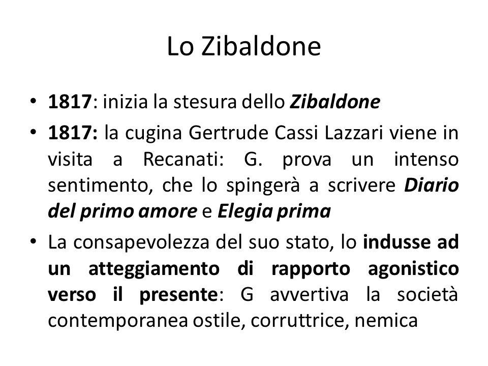 Lo Zibaldone 1817: inizia la stesura dello Zibaldone 1817: la cugina Gertrude Cassi Lazzari viene in visita a Recanati: G. prova un intenso sentimento