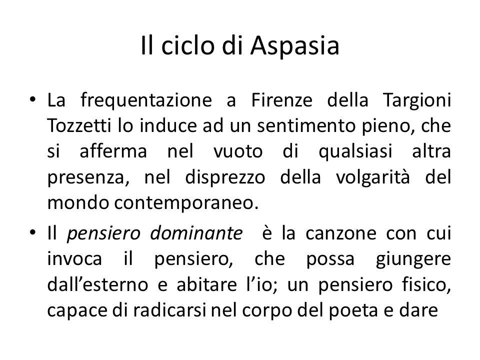Il ciclo di Aspasia La frequentazione a Firenze della Targioni Tozzetti lo induce ad un sentimento pieno, che si afferma nel vuoto di qualsiasi altra