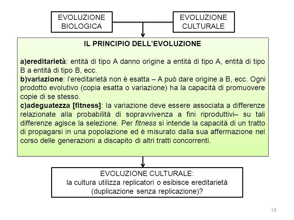 EVOLUZIONE BIOLOGICA EVOLUZIONE CULTURALE IL PRINCIPIO DELLEVOLUZIONE a)ereditarietà: entità di tipo A danno origine a entità di tipo A, entità di tip