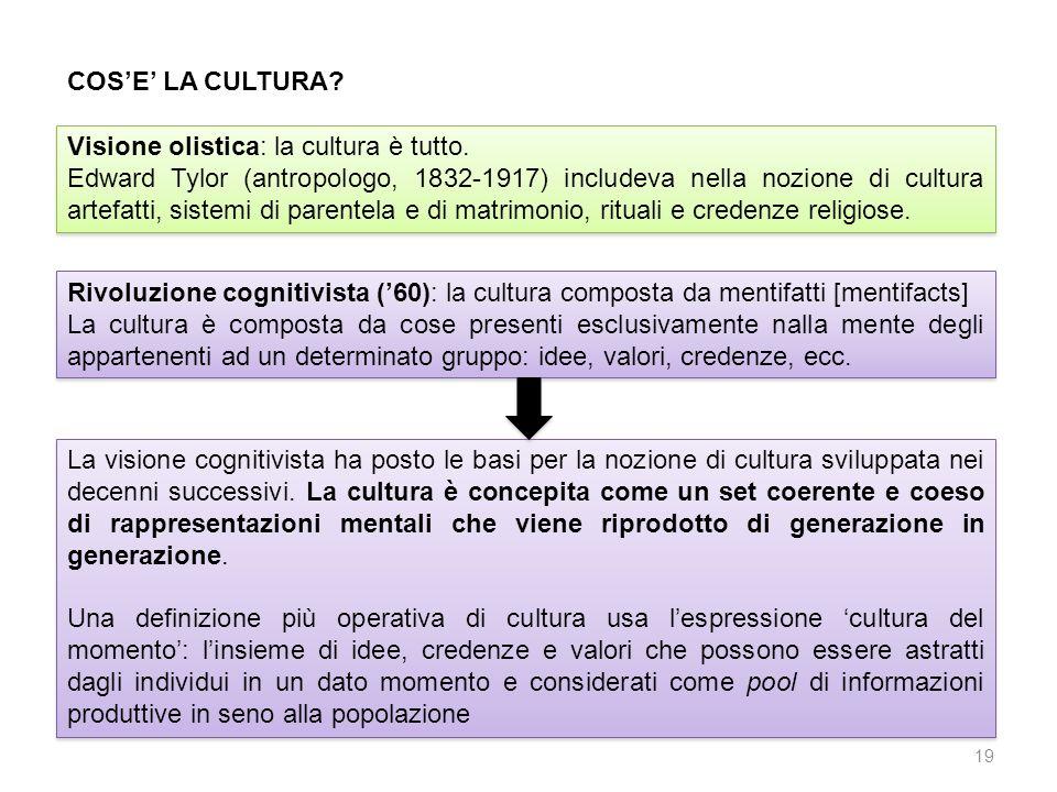 COSE LA CULTURA? Visione olistica: la cultura è tutto. Edward Tylor (antropologo, 1832-1917) includeva nella nozione di cultura artefatti, sistemi di