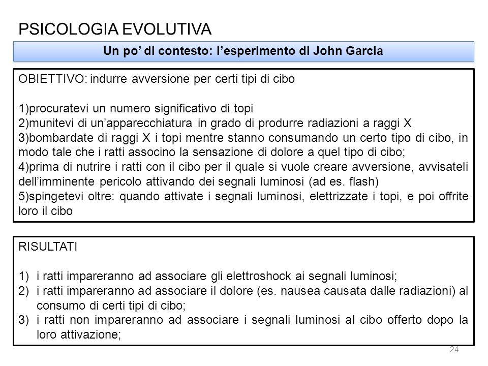 PSICOLOGIA EVOLUTIVA Un po di contesto: lesperimento di John Garcia OBIETTIVO: indurre avversione per certi tipi di cibo 1)procuratevi un numero signi