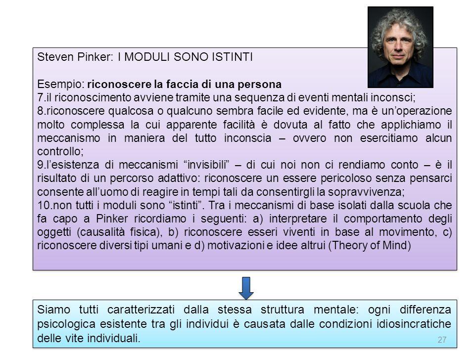 Steven Pinker: I MODULI SONO ISTINTI Esempio: riconoscere la faccia di una persona 7.il riconoscimento avviene tramite una sequenza di eventi mentali