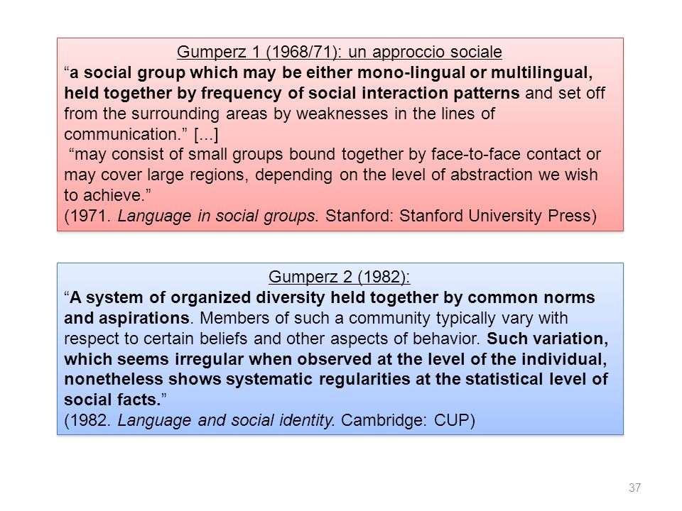 Gumperz 2 (1982): A system of organized diversity held together by common norms and aspirations.
