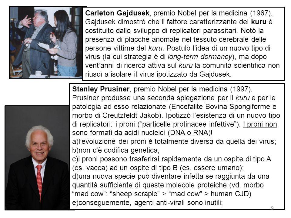 Carleton Gajdusek, premio Nobel per la medicina (1967). Gajdusek dimostrò che il fattore caratterizzante del kuru è costituito dallo sviluppo di repli