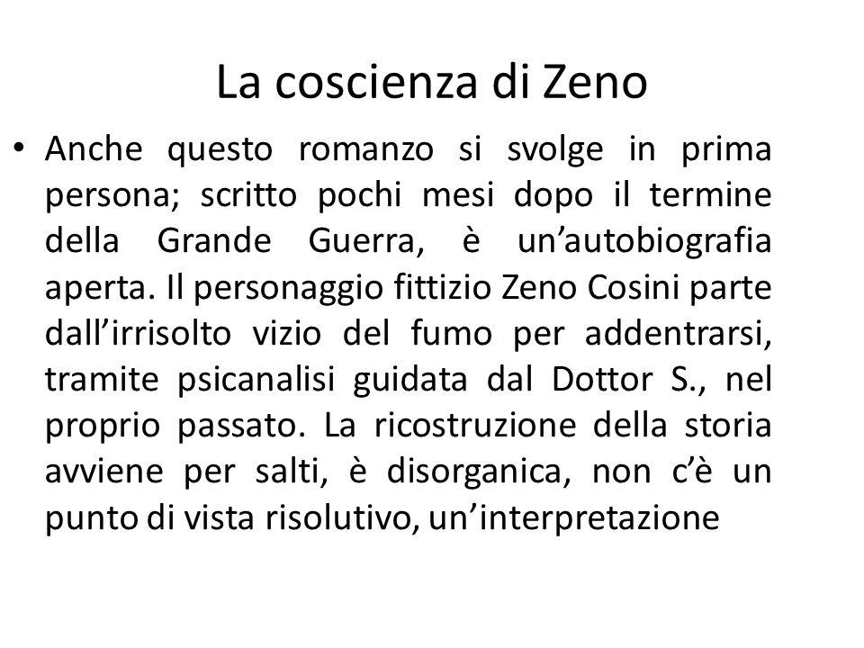La coscienza di Zeno Anche questo romanzo si svolge in prima persona; scritto pochi mesi dopo il termine della Grande Guerra, è unautobiografia aperta.