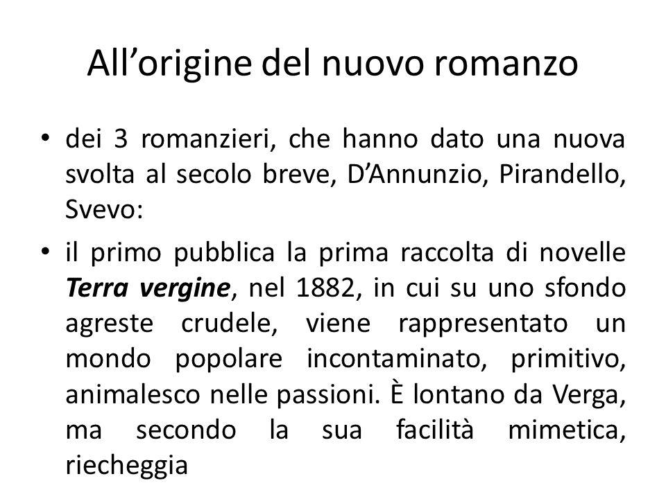 Allorigine del nuovo romanzo dei 3 romanzieri, che hanno dato una nuova svolta al secolo breve, DAnnunzio, Pirandello, Svevo: il primo pubblica la pri