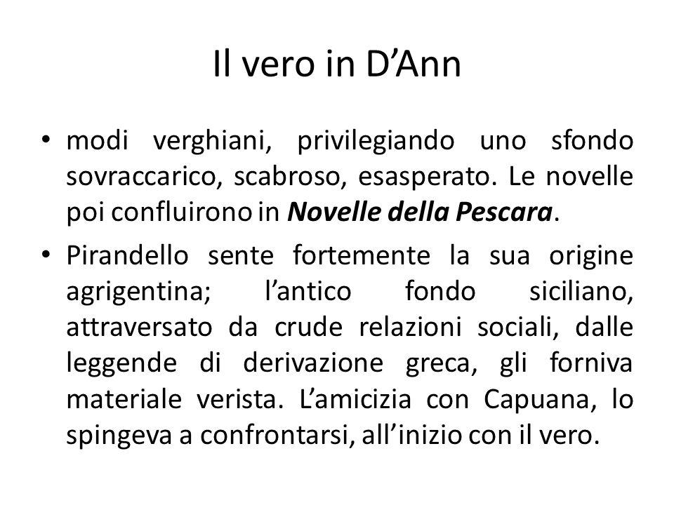 Il vero in DAnn modi verghiani, privilegiando uno sfondo sovraccarico, scabroso, esasperato. Le novelle poi confluirono in Novelle della Pescara. Pira
