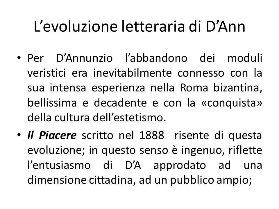 Per DAnnunzio labbandono dei moduli veristici era inevitabilmente connesso con la sua intensa esperienza nella Roma bizantina, bellissima e decadente e con la «conquista» della cultura dellestetismo.