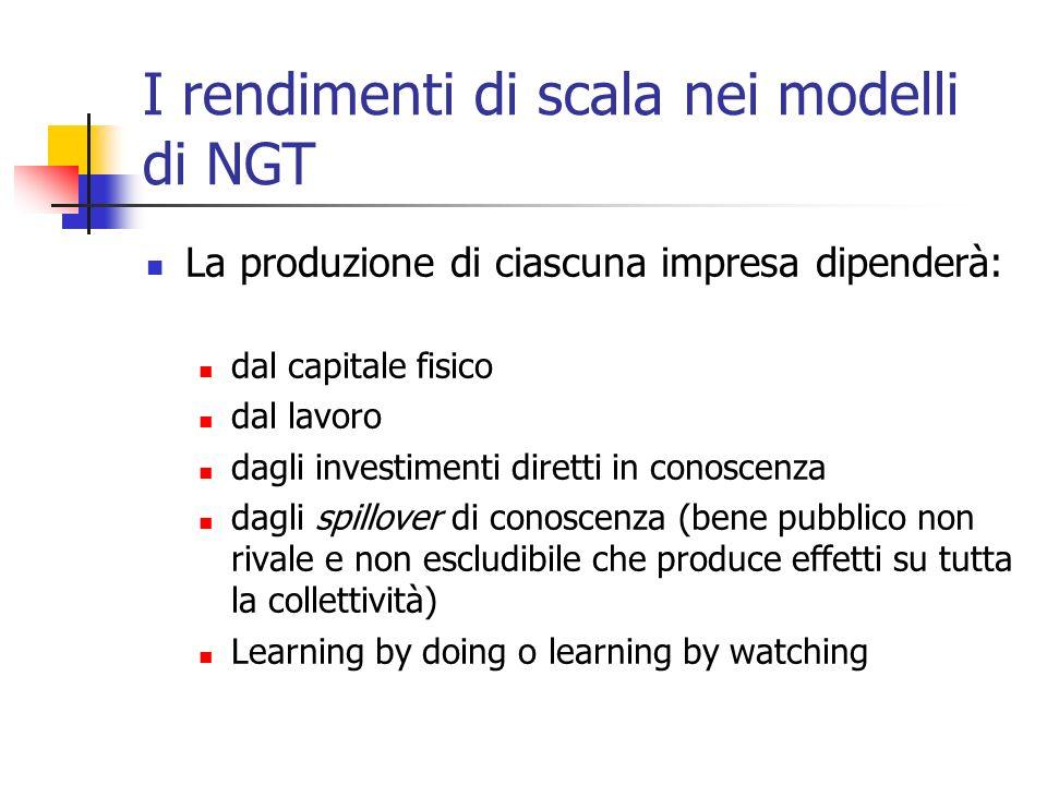 I rendimenti di scala nei modelli di NGT La produzione di ciascuna impresa dipenderà: dal capitale fisico dal lavoro dagli investimenti diretti in con