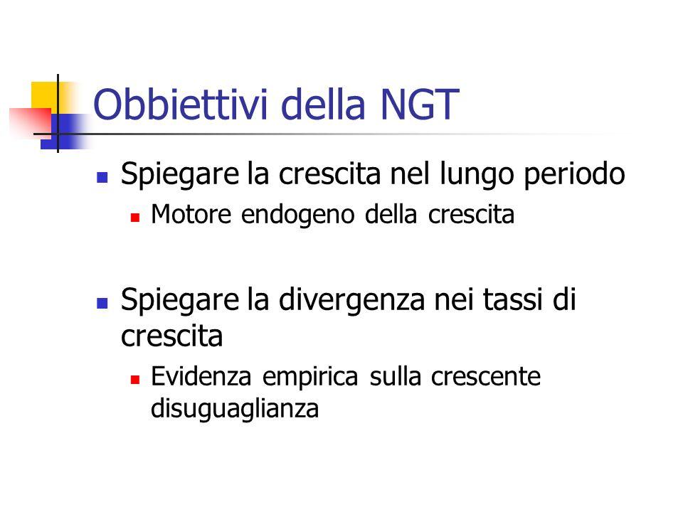 NGT La NTC considera il progresso tecnico endogeno e legato in particolare alla valorizzazione del capitale umano a seguito delle esternalità create dal processo produttivo (effetti esterni al processo produttivo, non intenzionali e non apprezzati dal mercato).