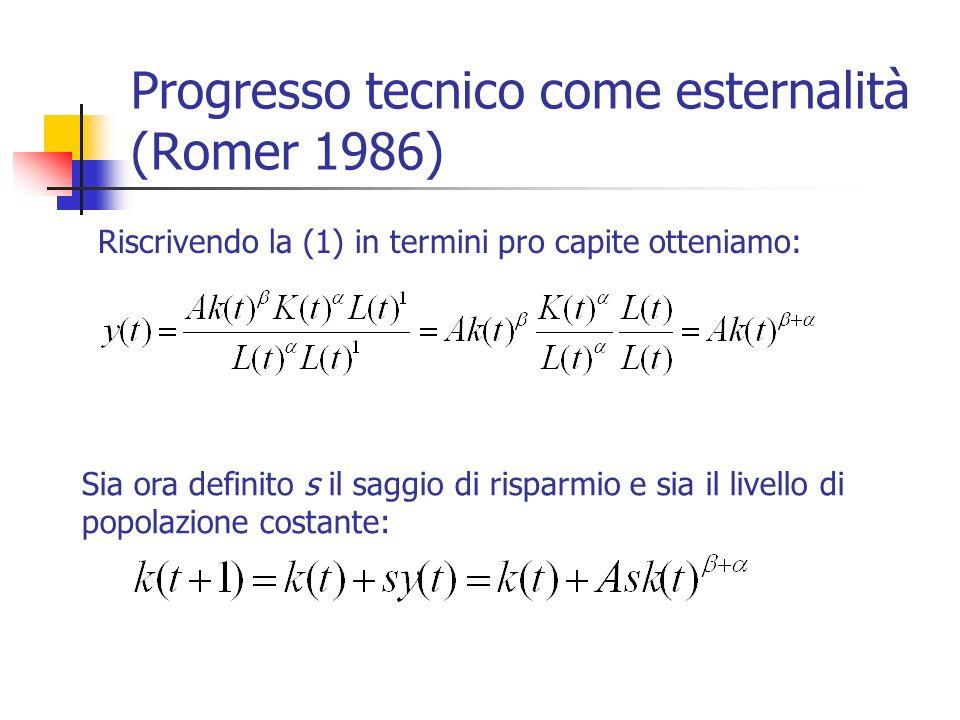 Progresso tecnico come esternalità (Romer 1986) Riscrivendo la (1) in termini pro capite otteniamo: Sia ora definito s il saggio di risparmio e sia il