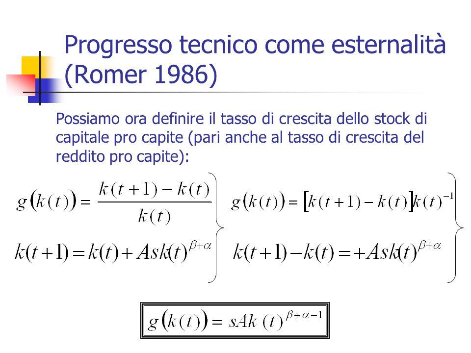 Progresso tecnico come esternalità (Romer 1986) Possiamo ora definire il tasso di crescita dello stock di capitale pro capite (pari anche al tasso di
