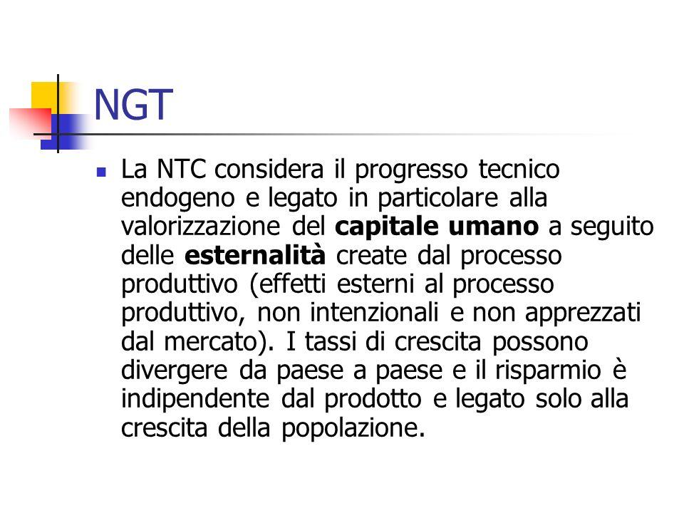 NGT La NTC considera il progresso tecnico endogeno e legato in particolare alla valorizzazione del capitale umano a seguito delle esternalità create d