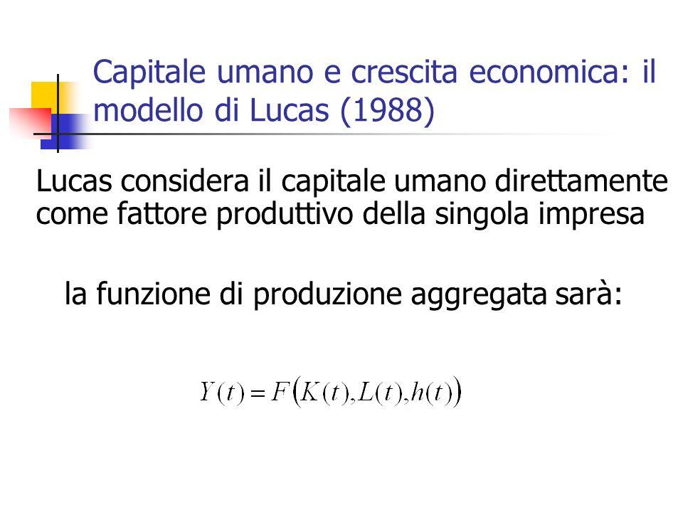 Capitale umano e crescita economica: il modello di Lucas (1988) Lucas considera il capitale umano direttamente come fattore produttivo della singola i