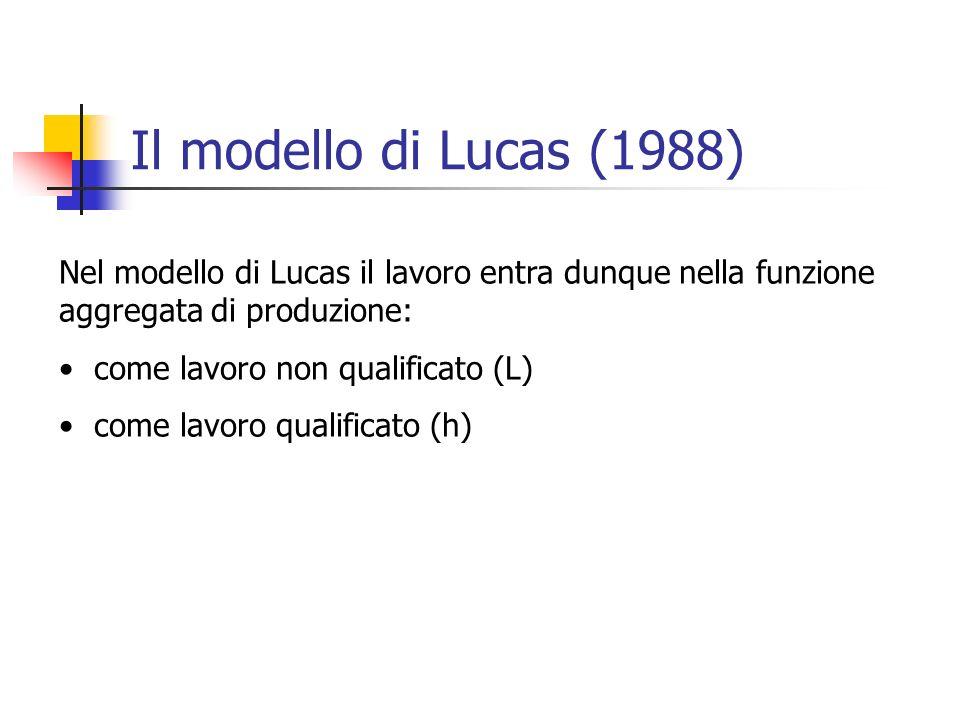 Il modello di Lucas (1988) Nel modello di Lucas il lavoro entra dunque nella funzione aggregata di produzione: come lavoro non qualificato (L) come la
