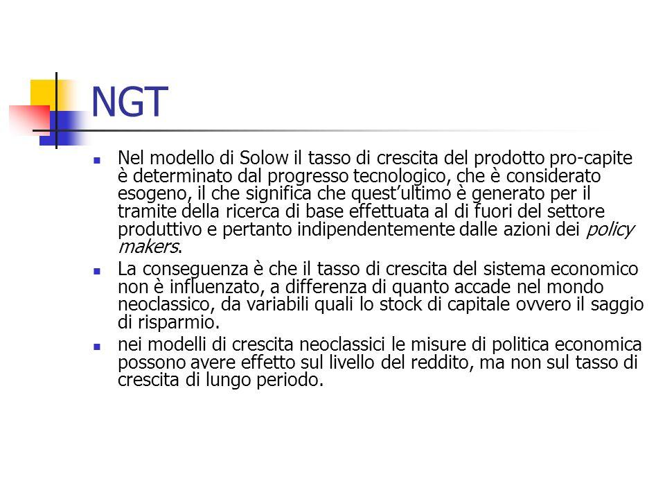 NGT Nel modello di Solow il tasso di crescita del prodotto pro-capite è determinato dal progresso tecnologico, che è considerato esogeno, il che signi