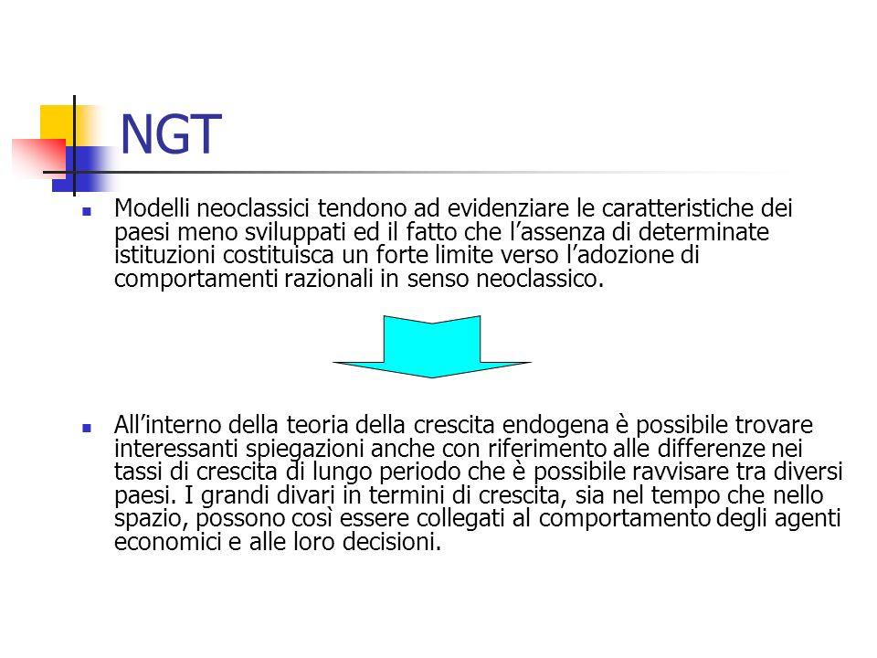 NGT La NTC si pone inoltre come obiettivo ulteriore quello di superare un altro limite della teoria della crescita neoclassica e cioè quello relativo alla esauribilità della stessa crescita.