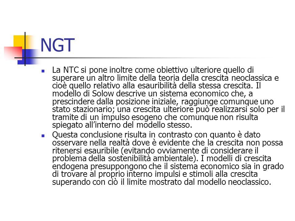 NGT La NTC si pone inoltre come obiettivo ulteriore quello di superare un altro limite della teoria della crescita neoclassica e cioè quello relativo