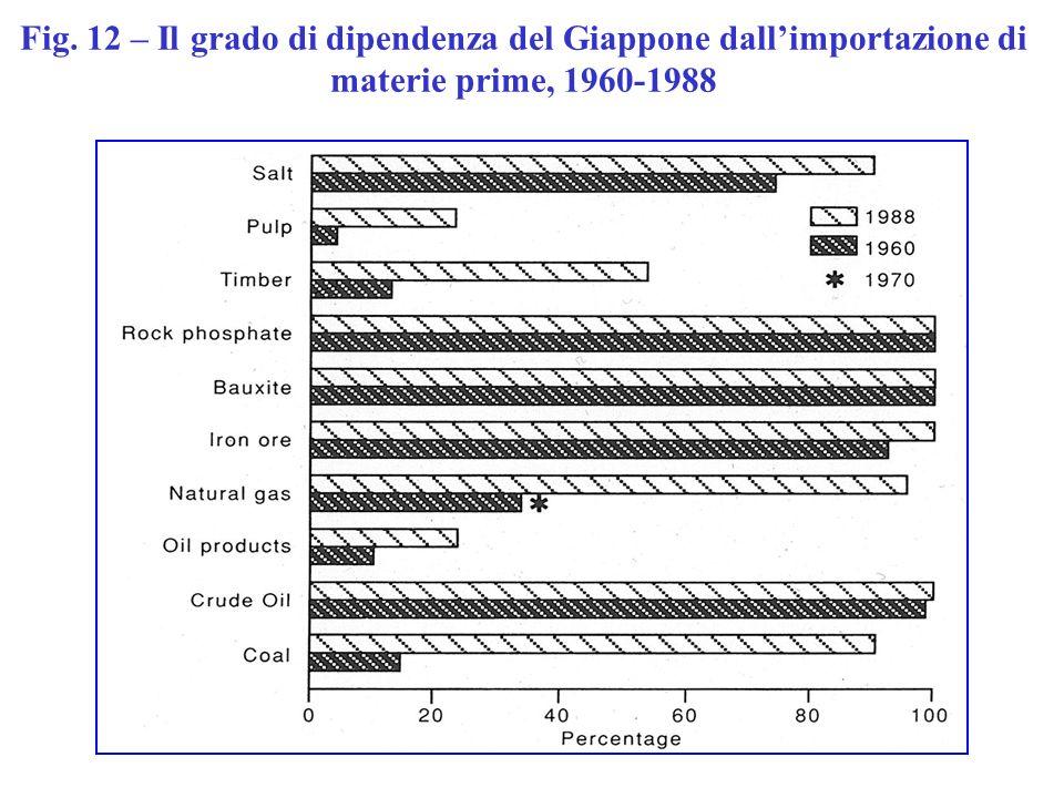 Fig. 12 – Il grado di dipendenza del Giappone dallimportazione di materie prime, 1960-1988