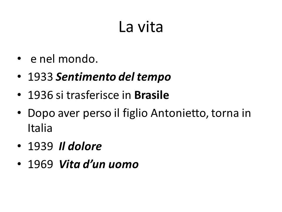 La vita e nel mondo. 1933 Sentimento del tempo 1936 si trasferisce in Brasile Dopo aver perso il figlio Antonietto, torna in Italia 1939 Il dolore 196