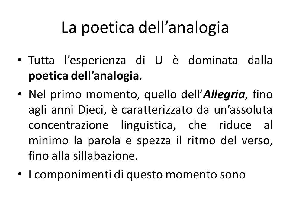 La poetica dellanalogia Tutta lesperienza di U è dominata dalla poetica dellanalogia. Nel primo momento, quello dellAllegria, fino agli anni Dieci, è