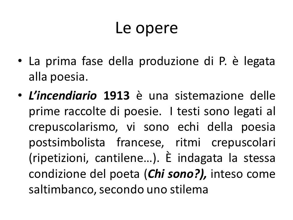 Le opere La prima fase della produzione di P. è legata alla poesia. Lincendiario 1913 è una sistemazione delle prime raccolte di poesie. I testi sono