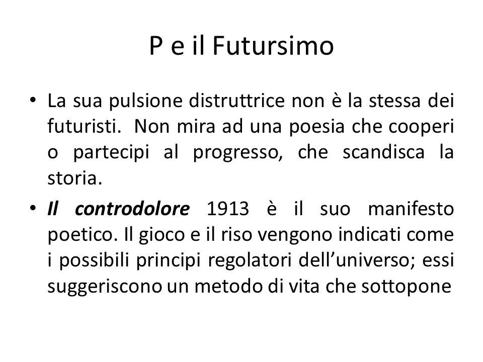 P e il Futursimo La sua pulsione distruttrice non è la stessa dei futuristi. Non mira ad una poesia che cooperi o partecipi al progresso, che scandisc